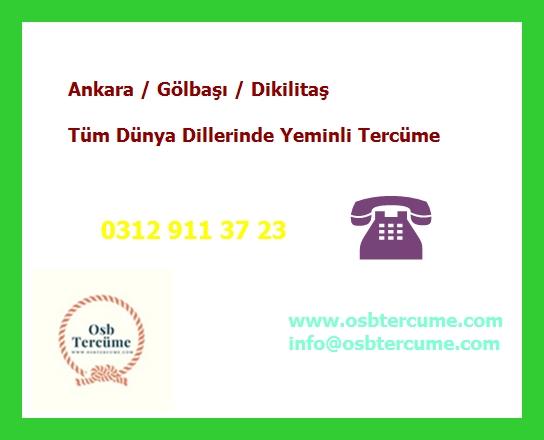 Ankara Gölbaşı Dikilitaş Yeminli Tercüme Hizmetleri Ankara Gölbaşı