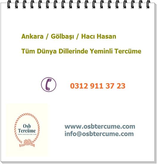 Ankara Gölbaşı Hacı Hasan Yeminli Tercüme Hizmetleri Ankara